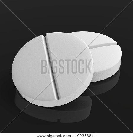 3d rendering white pills on black background