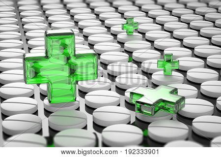 3d rendering health and safety concept with green cross on pills background