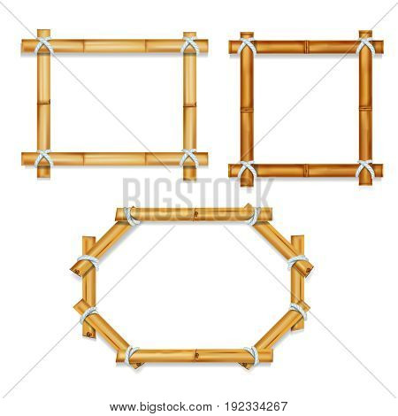 Wooden realistic bamboo frames vector illustration isolated