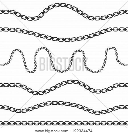 Set Of Seamless Chains. Curved, Wavy Seamless Chains Collection Isolated On White Background