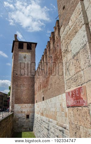 Entrance of Castelvecchio museum in Verona Italy. The medieval Castelvecchio was built between 1354 and 1356.