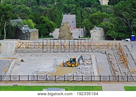 Volgograd Russia - June 24 2014: Repair works of the bottom of the