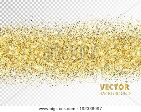 Sparkling glitter border isolated on transparent background, golden dust. Golden rectangle of glitter confetti. Great for wedding invitations, party posters, christmas, new year and birthday cards.