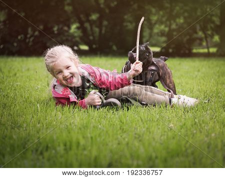 happy little girl playing with a dog. Child lying on green grass throws the stick. Happiness a girl laughs loudly