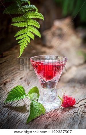 Closeup Of Sweet Raspberries Liqueur In Forest
