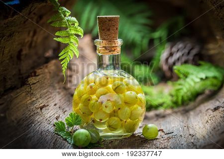 Closeup Of Liqueur Made Of Alcohol And Gooseberries