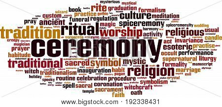 Ceremony word cloud concept. Vector illustration on white