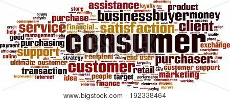 Consumer word cloud concept. Vector illustration on white