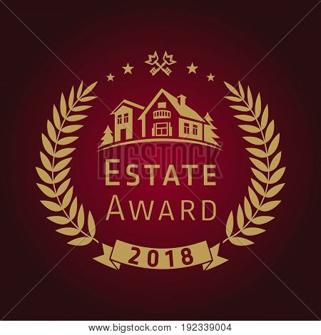 Real estate awards vector logo. House for sale luxurious sign. Best agent, architectural agency, lease, build, buy, invest or landscaping business. Gold colored palms, branches, residential keys.