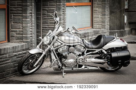 MOSCOW RUSSIA - JUNE 6 2017: Harley-Davidson motorbike on a street
