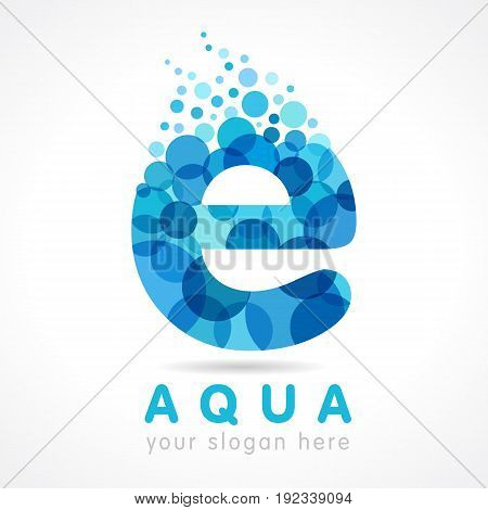Water logo. Vector blue aqua splash with drops. Company branding identity for hotels, tourist business, spa, beach service, healthcare, holidays, resorts. Blue letter E.