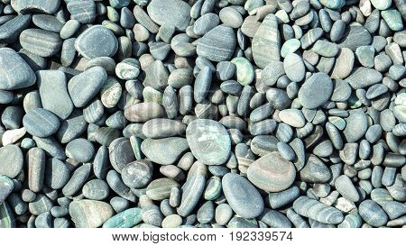 Stone background and texture concept - Close up beautiful round sea stone on kho lipe island