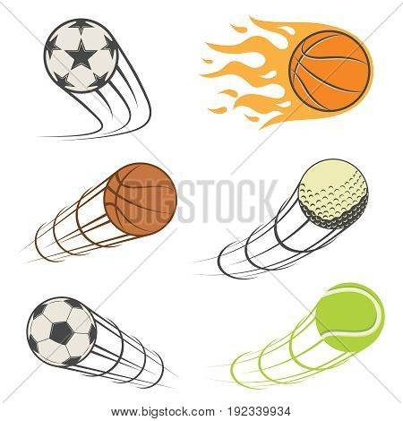set of sport balls. football, basketball, Golf, tennis. Vector illustration