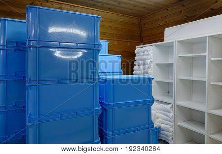 Several Stacks Of Plastic Box At The Warehouse