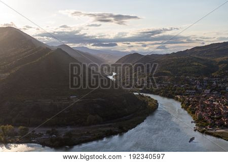 View Of Metztu, Georgia And The Valley From The Monastery Of Jvari