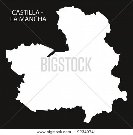 Castilla - La Mancha Spain Map Black Inverted Silhouette Illustration