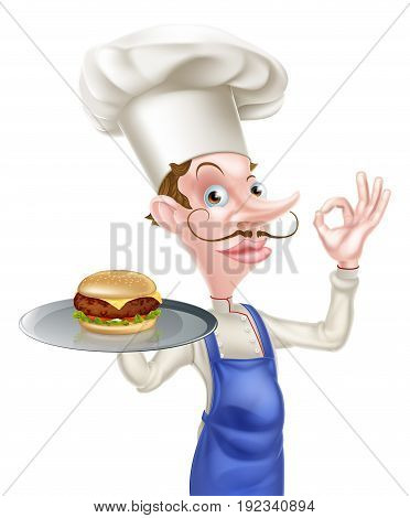 An illustration of a cartoon chef doing a perfect or okay sign and holding a tray with a burger on it