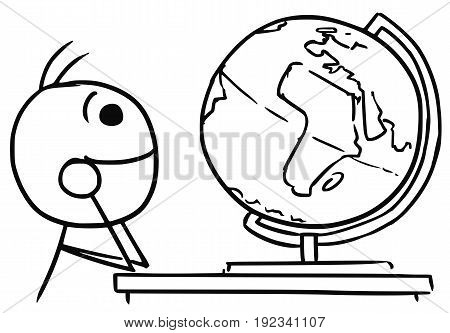 Cartoon vector stick man men daydreaming about travels around the Earth watching the globe
