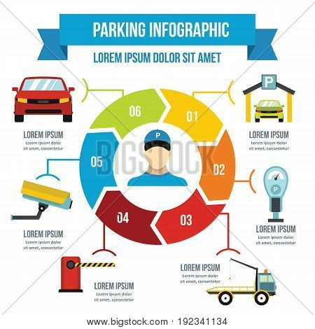 Parking service infographic banner concept. Flat illustration of parking service infographic vector poster concept for web