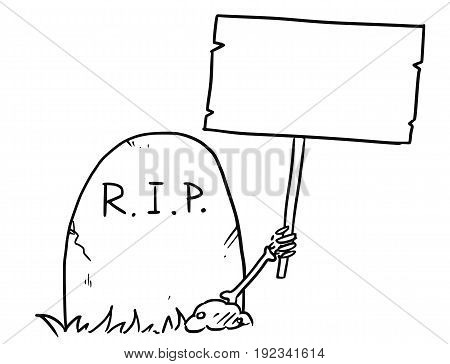 Cartoon vector arm of the dead skeleton is sticking out of the grave tombstone holding empty sign