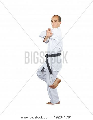 Formal exercises karate in perfoming an athlete