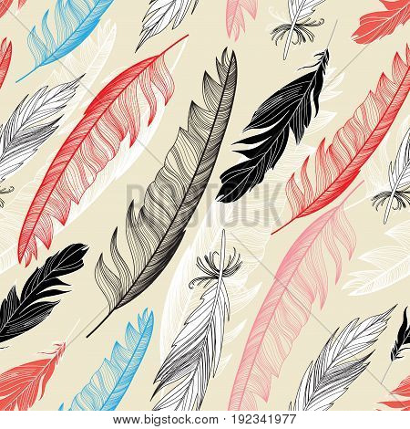 Beautiful seamless pattern with feathers on a light background