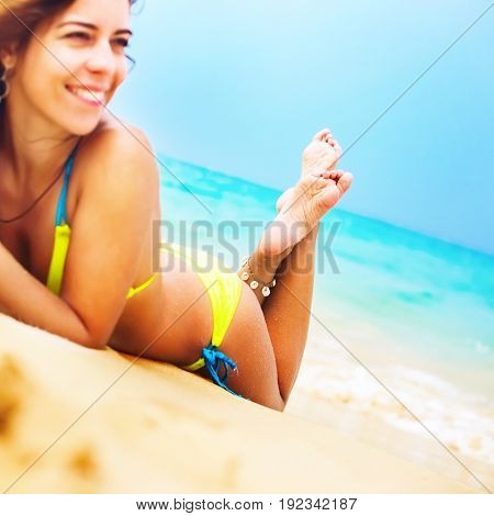 Woman Sunbathe Tropical Beach Focus On Foot