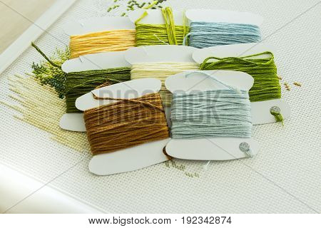 A set of embroidery threads in natural colors on paper reels. Selective focus. Close-up.