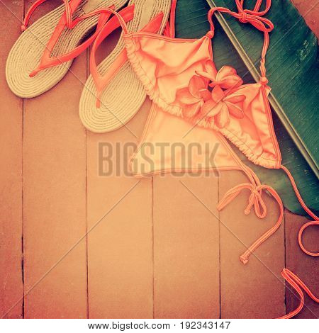 Slippers Pink Swimsuit Frangipani Palm Leaf Summer