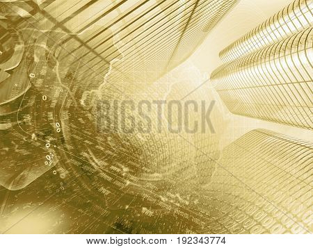Computer background in sepia with buildings map and digits.