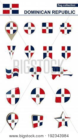 Dominican Republic Flag Collection. Big Set For Design.
