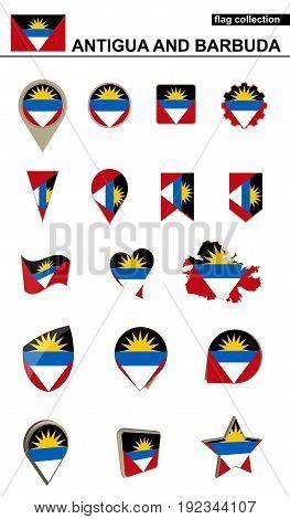 Antigua And Barbuda Flag Collection. Big Set For Design.