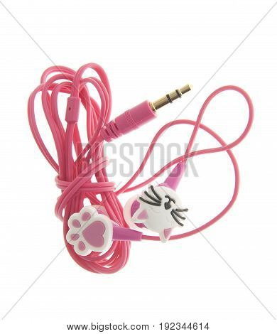 pink earphone with cat design isolated on white