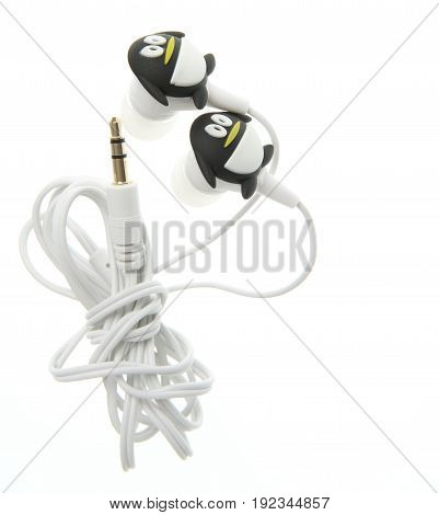 black earphone with penquin design isolated on white