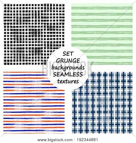 Set Of Seamless Vector Grunge Geometrical Patterns With Hand Drawn Lines. Grungy Striped, Checkered