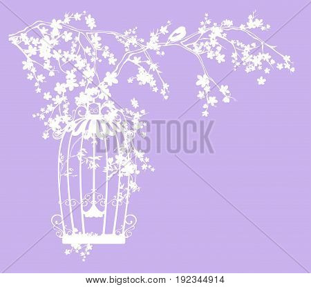 bird cage among blooming tree branches vector silhouette design