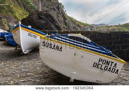 Capelas, Azores Portugal - May 15, 2017: Porto Capelas Fishing Port On Sao Miguel Island