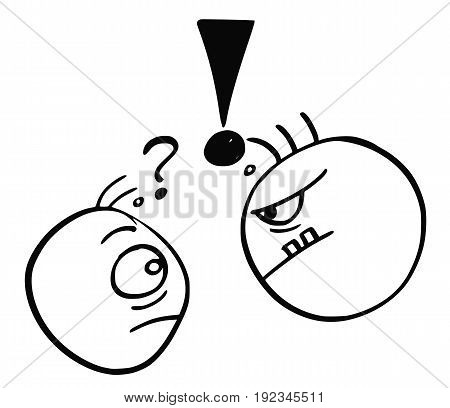 Cartoon vector of small man with question mark above his head threated endangered by big strong man with exclamation mark above his head.