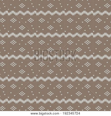 brown and white curved striped with diamond shape and dot knitting pattern background vector illustration image
