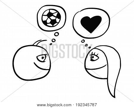 Cartoon vector of difference between man and woman thinking about football soccer ball and heart symbol of love and relationship