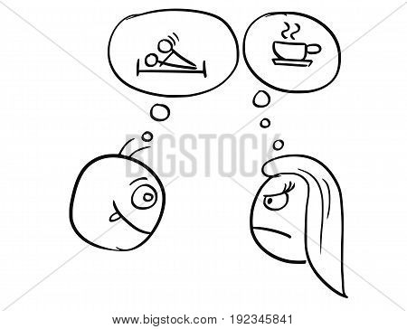 Cartoon vector of different expectations of man and woman on date thinking about sex sexual intercourse and coffee tea cup