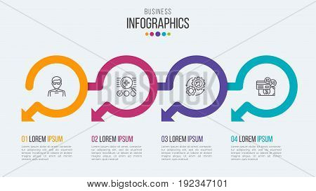 Four steps timeline infographic template with circular arrows. Vector illustration.