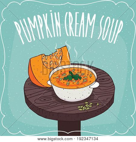 Pumpkin Cream Soup With Fresh Cut Pumpkin