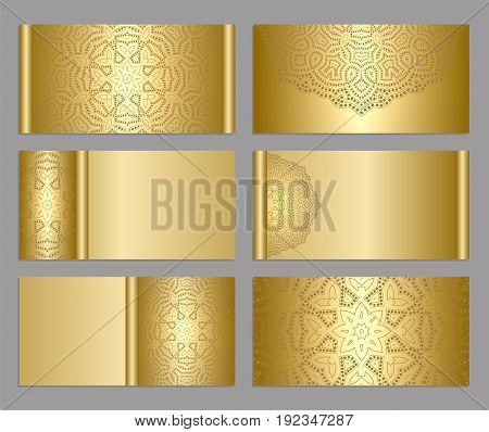 Templates for greeting and business cards. Gold background. Light, shiny, glow mandala. Oriental  lace  ornament. Invitation, save the date, RSVP.  Arabic, Islamic, asian, indian, african motifs.