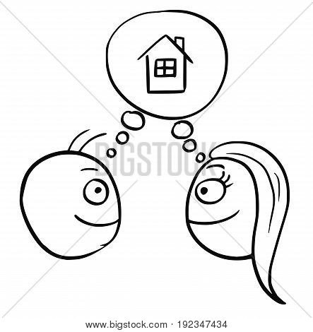 Cartoon vector of man and woman thinking planning together to live in build buy or rent a family house