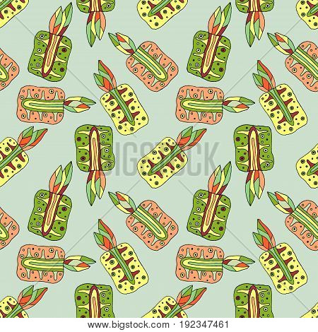 Seamless Vector Hand Drawn Childish Pattern With Fruits. Cute Childlike Pineapple With Leaves, Seeds