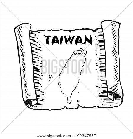 Scroll with a map of Taiwan. The sketch mimics the old papyrus paper. Vector illustration. Picture isolated on white background. Square location.