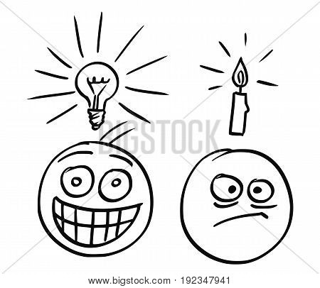 Cartoon vector of man with shining light bulb above his head and with great happy smile. Man just got great idea. Second man with candle above his head and unhappy focused expression in his face.