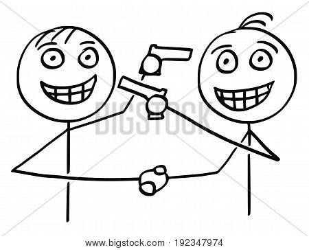 Cartoon vector of two men politicians businessmen smiling and shaking their hands and pointing guns at each other in same time.
