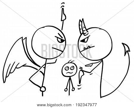 Cartoon vector of angel and devil fighting arguing disputing about the man in background and pointing up and down at heaven and hell